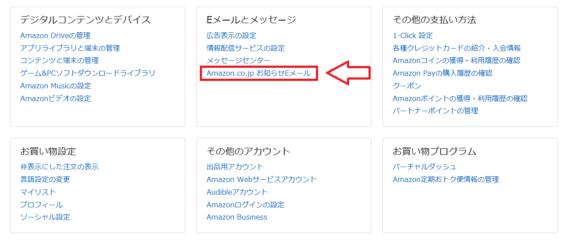 Amazonからのメルマガを停止する手順1