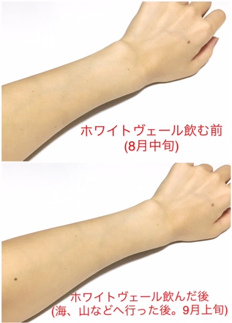 ホワイトヴェール使用後の肌