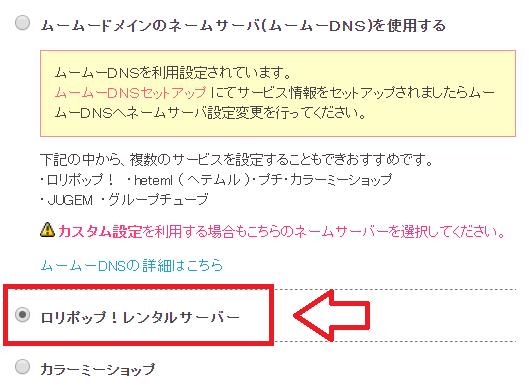 ロリポップのネームサーバー変更2