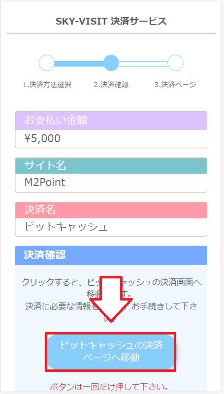 【スマホ版】ビットキャシュでFC2ポイントを購入する手順7